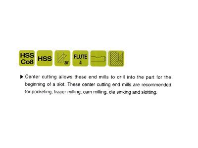 HSS, 4 Flute End Mills-Regular Length(Center Cutting)-2