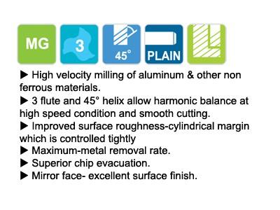Carbide, 3 Flute 45 Degree Helix Long Length-2
