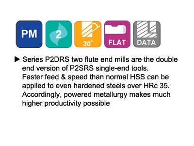 ASP, 30 Degree Helix 2 FL. Regular Length Double End Mills-2