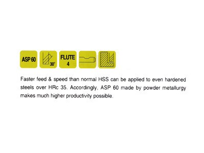 ASP60, 30 Degree Helix 4 FL. Regular Length End Mills-2