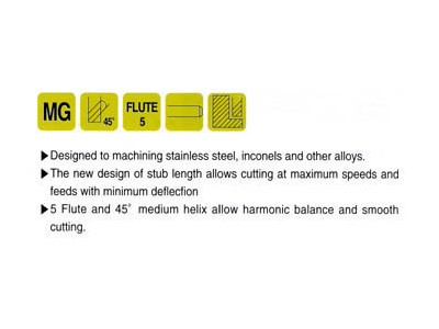 5 Flute 45 Degree Helix Stub / Standard Length-2