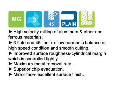 Carbide 3F 45 Degree Helix For Aluminum With .120 Corner Radius-2