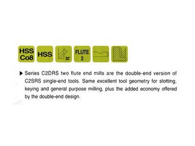 HSS, 2 Flute Double End Mills-Regular Length-2