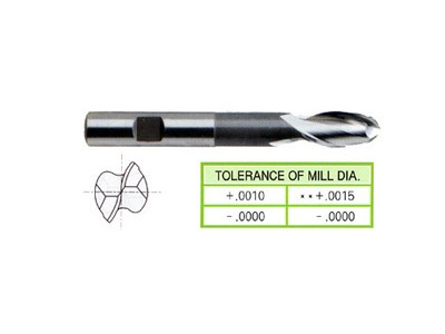 Cobalt 8%, 2 Flute Ball Nose End Mills-Extended Length-1