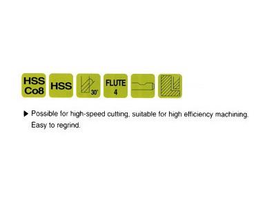 Cobalt 8%, 4 Flute End Mills-Regular Length-2