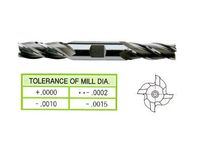 HSS, 4 Flute Double End Mills-Regular Length-1