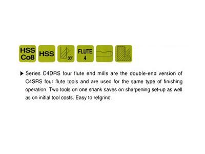 HSS, 4 Flute Double End Mills-Regular Length-2