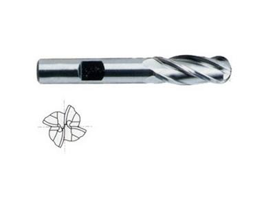 Cobalt 8 HSS 4 Flute Ball Nose End Mills Regular Length-1