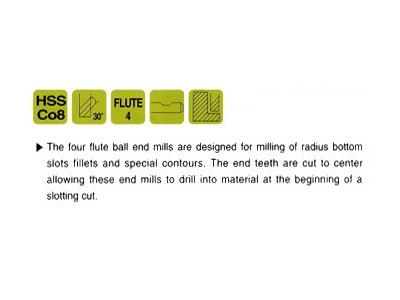 Cobalt 8 HSS 4 Flute Ball Nose End Mills Regular Length-2