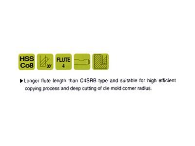 Cobalt 8% HSS, 4 Flute HSS Ball Nose End Mills-Long Length-2